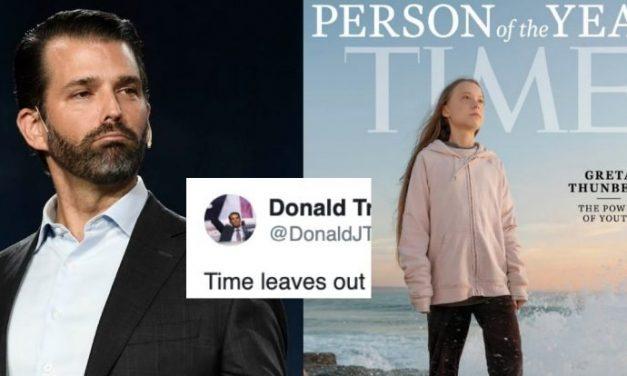 """Donald Trump Jr. Ataca Vilmente a Greta Thungber Por su Nominación Como """"Persona del Año"""" de TIME"""