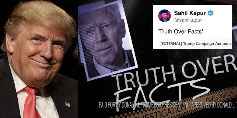 """Trump Lanza Sitio Web """"La Verdad sobre los Hechos"""" para Descubrir el """"Significado Oculto"""" en las Palabras de Biden"""