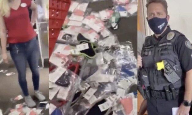 Furioso Ataque a los Exhibidores de Máscaras en una Tienda Target. ¿La Protagonista? Otra Trumpista Loca