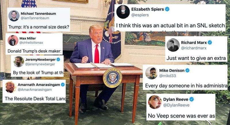 Las Redes Sociales Explotan en Burlas Después de que a Trump le Cambiaran el Escritorio