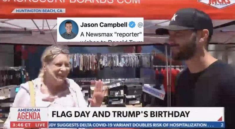 El Segmento de Cumpleaños de Trump en Newsmax se Descarrila Cuando una Mujer lo Ataca al Aire